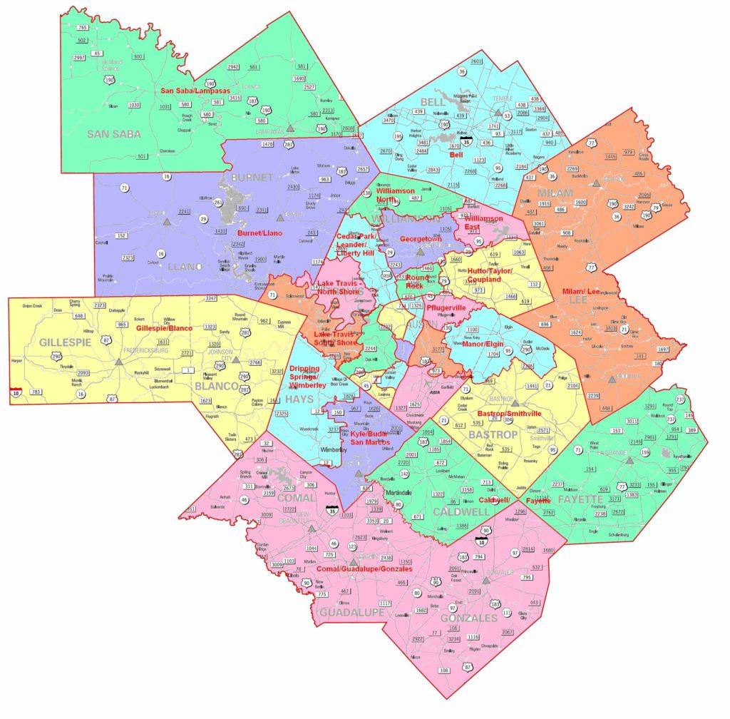 Central Texas Region Map