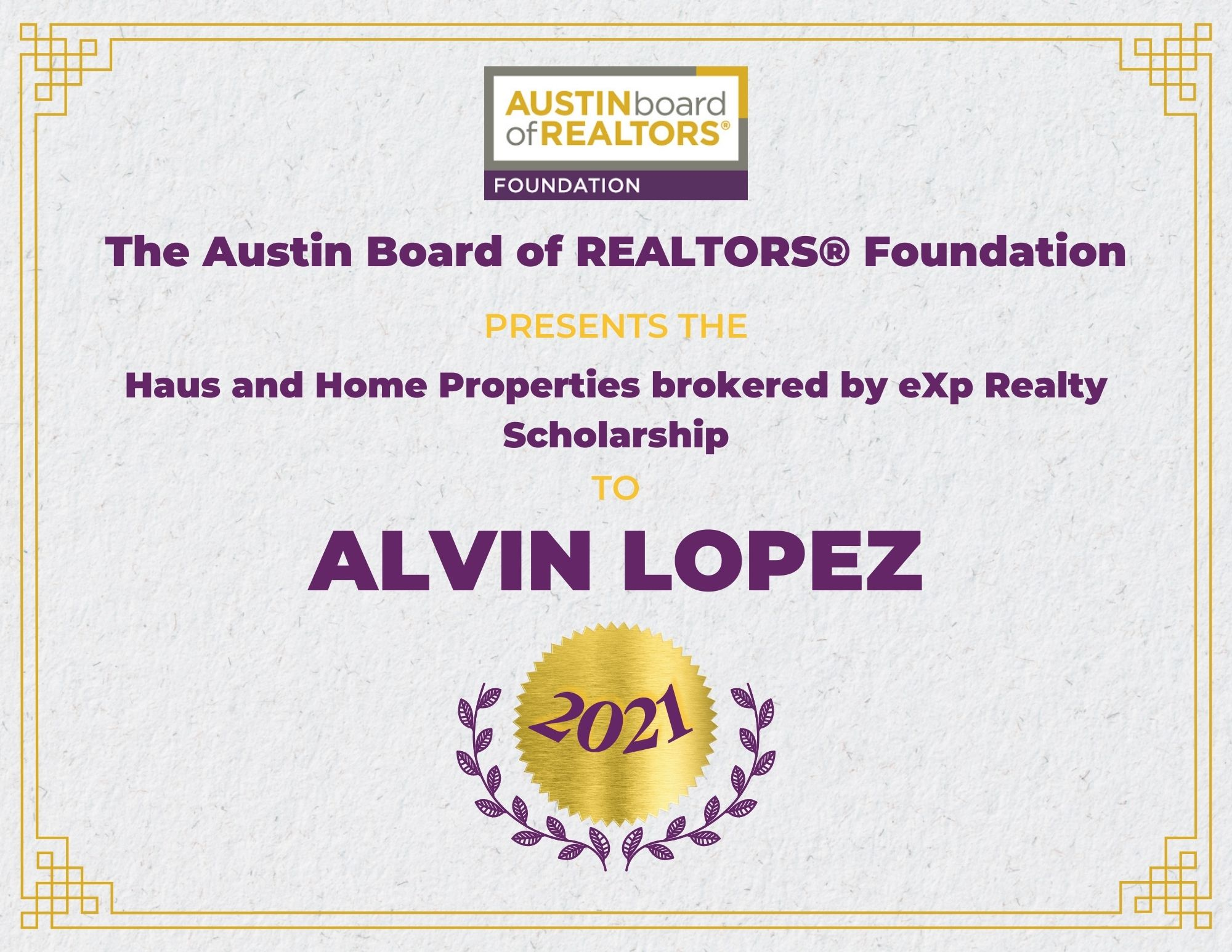 2021 Fou Scholarship Certificate Alvinlopez