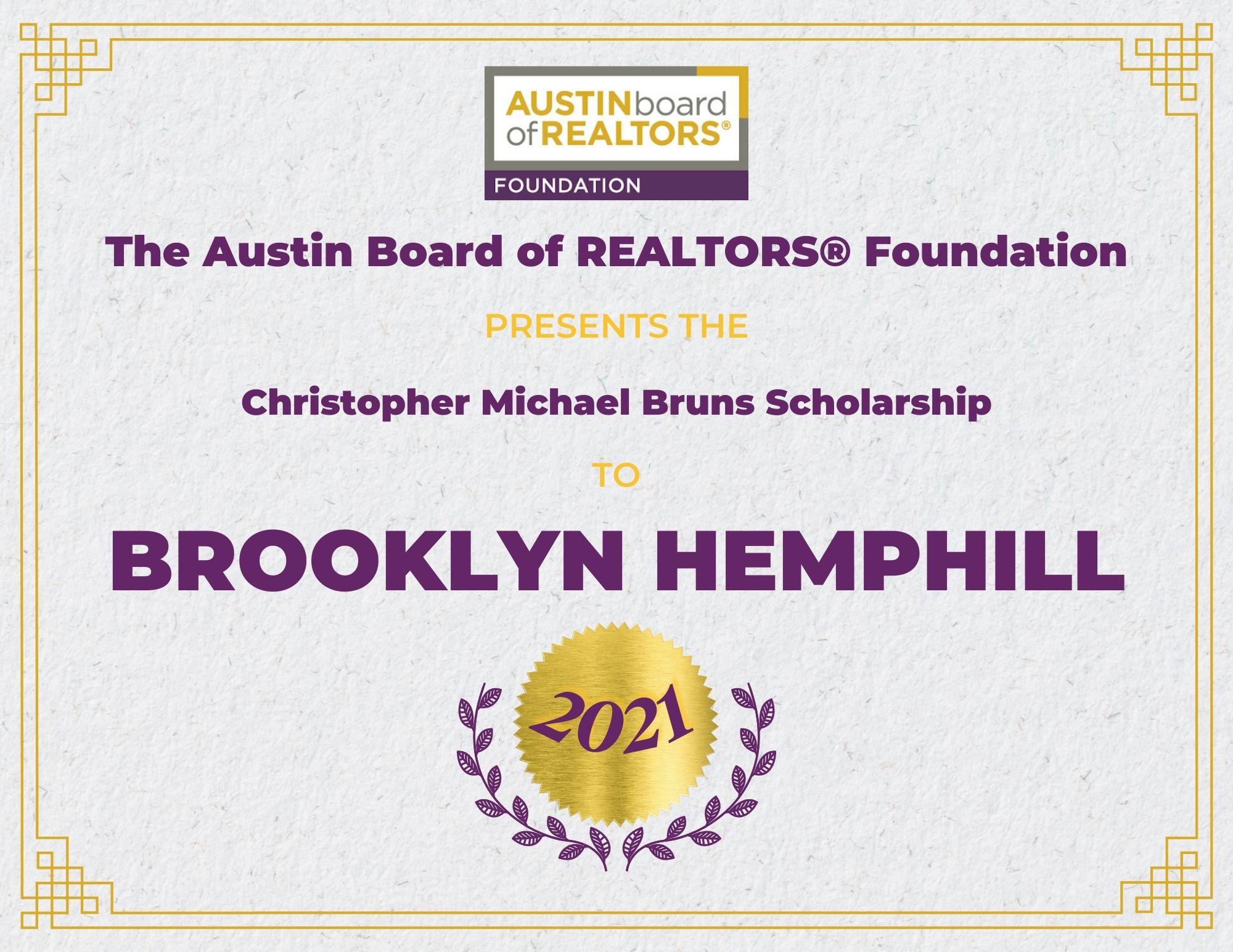2021 Fou Scholarship Certificate Brooklynhemphill