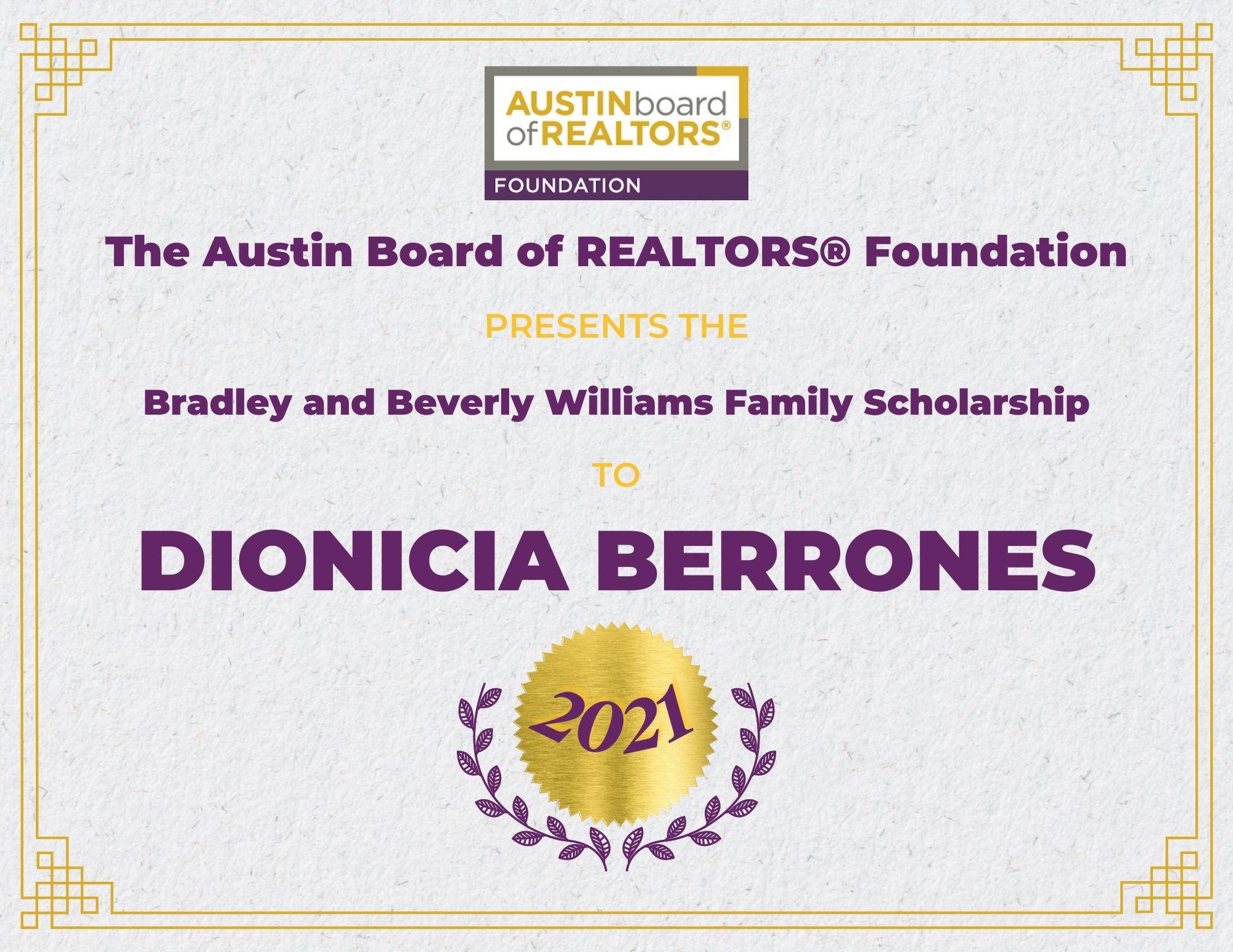 2021 Fou Scholarship Certificate Dioniciaberrones