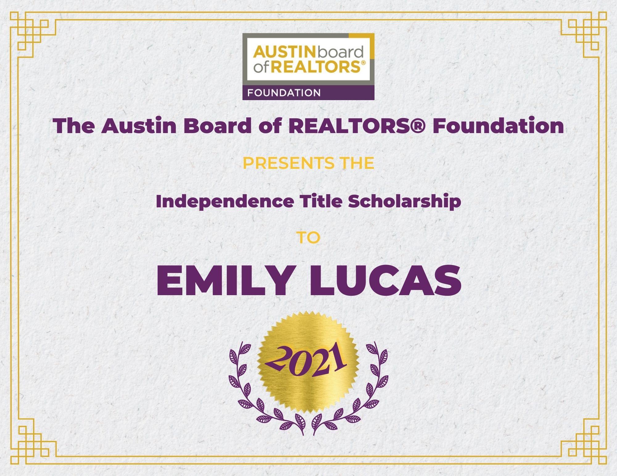 2021 Fou Scholarship Certificate Emilylucas