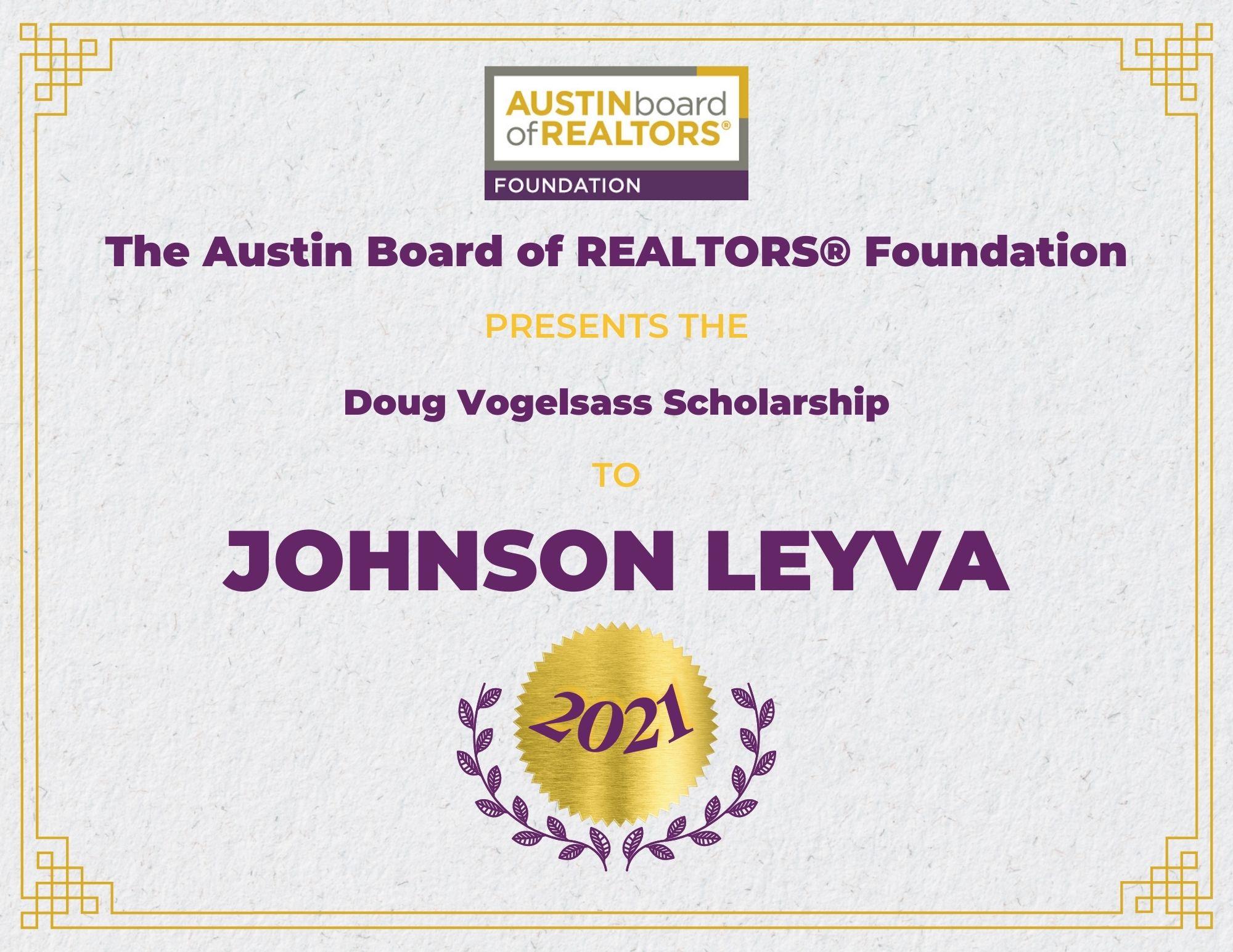 2021 Fou Scholarship Certificate Johnsonleyva