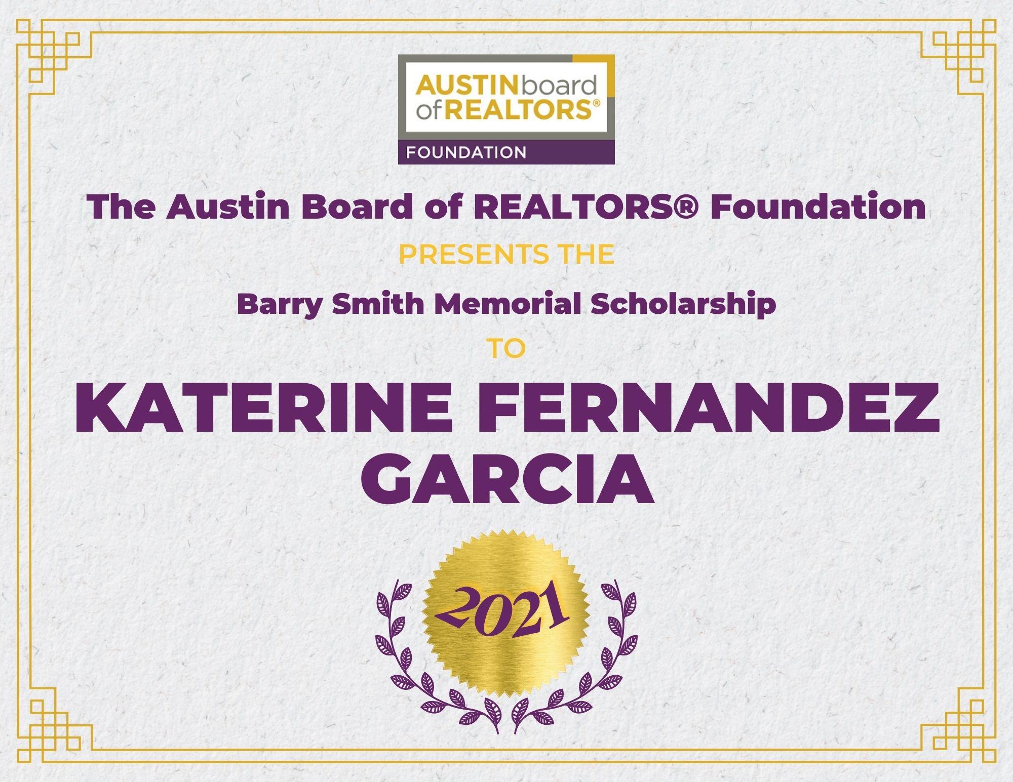 2021 Fou Scholarship Certificate Katerinefernandezgarcia
