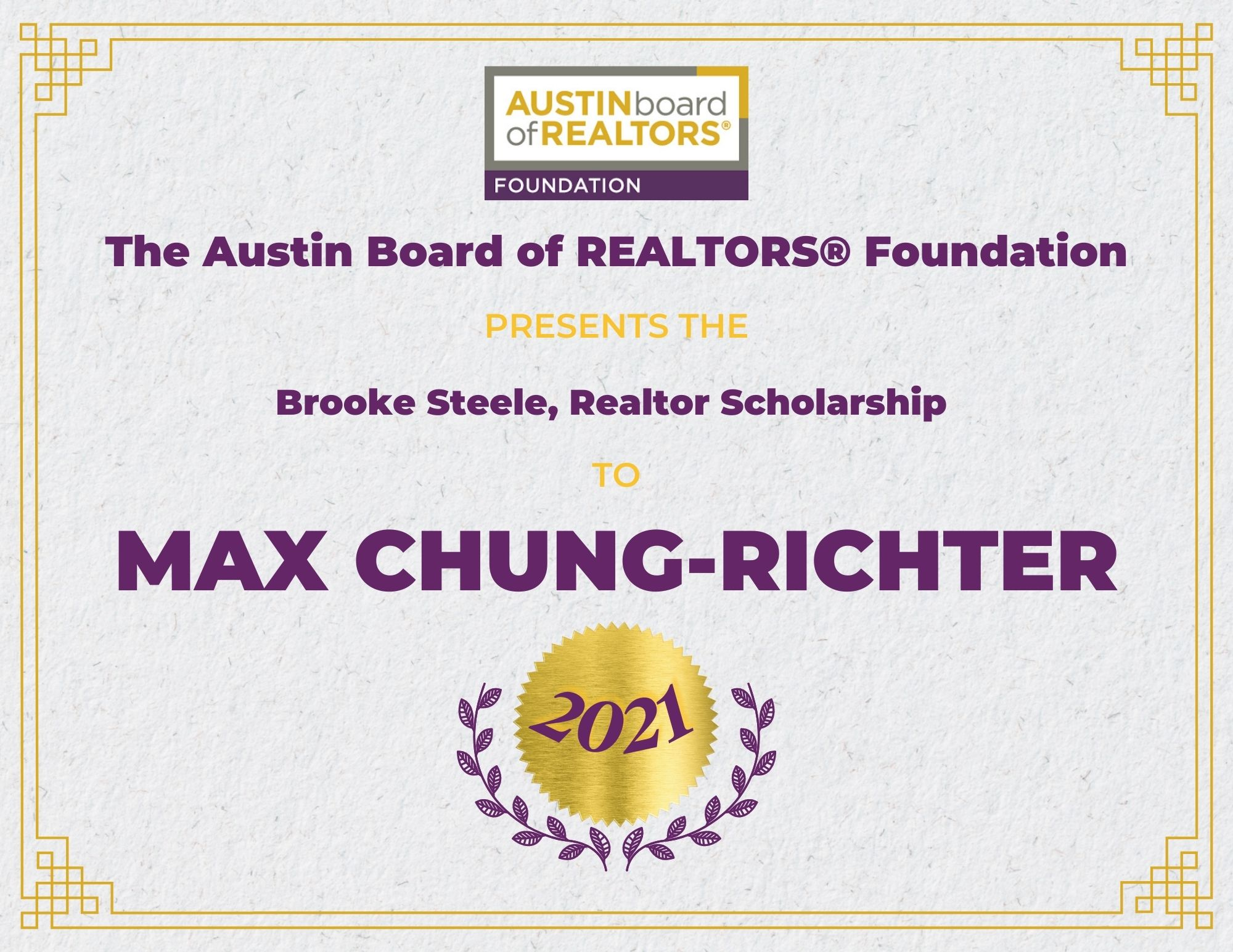 2021 Fou Scholarship Certificate Maxchung Richter