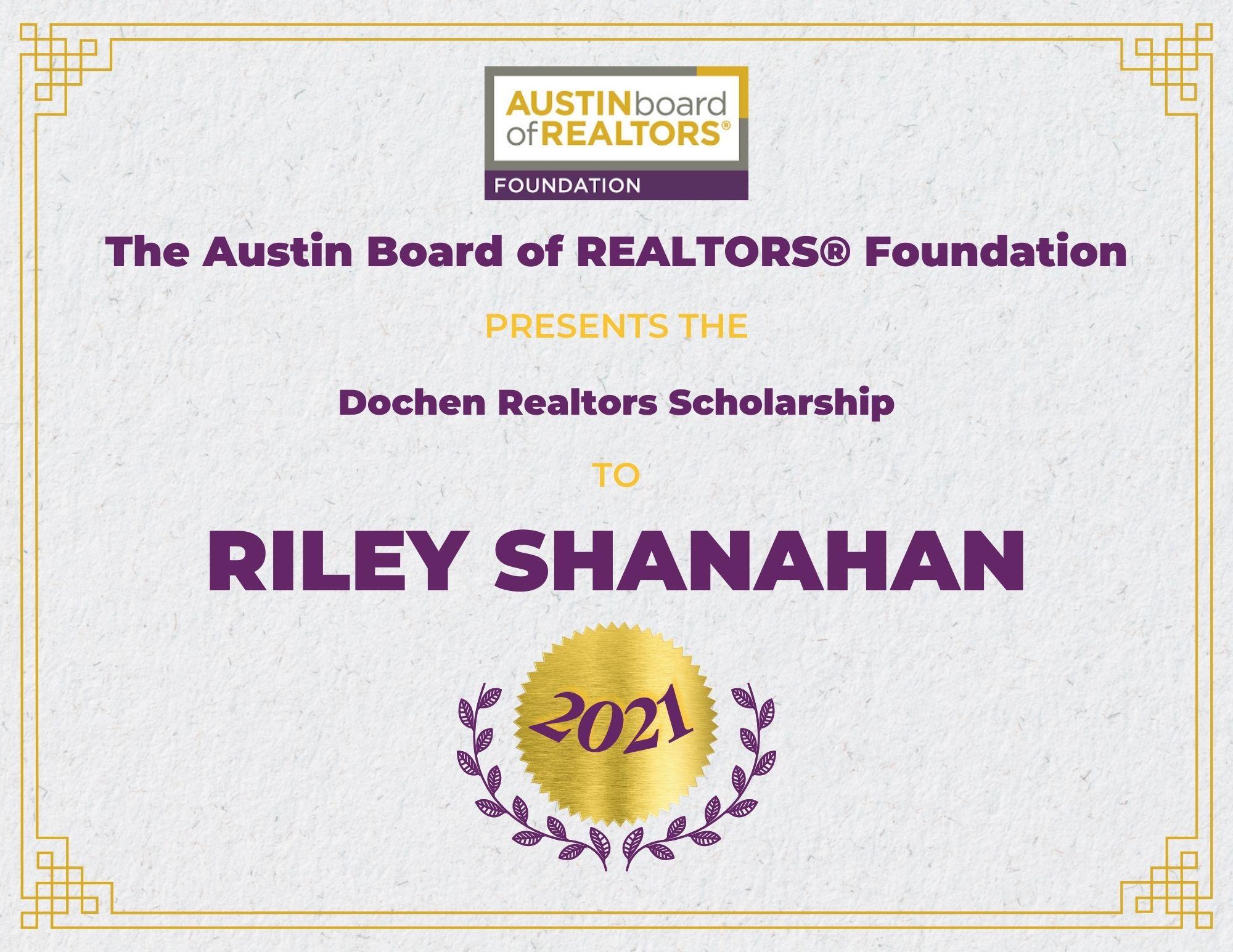 2021 Fou Scholarship Certificate Rileyshanahan