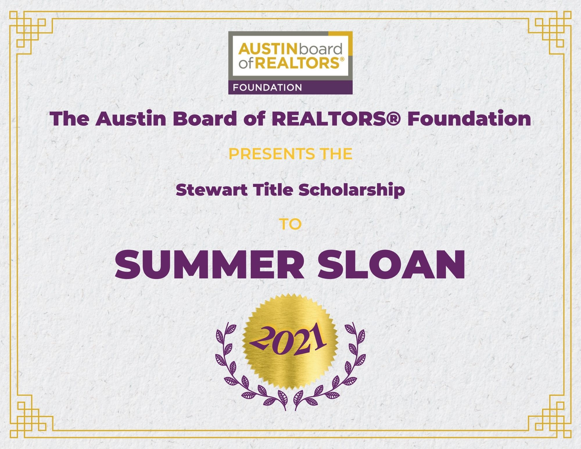 2021 Fou Scholarship Certificate Summersloan
