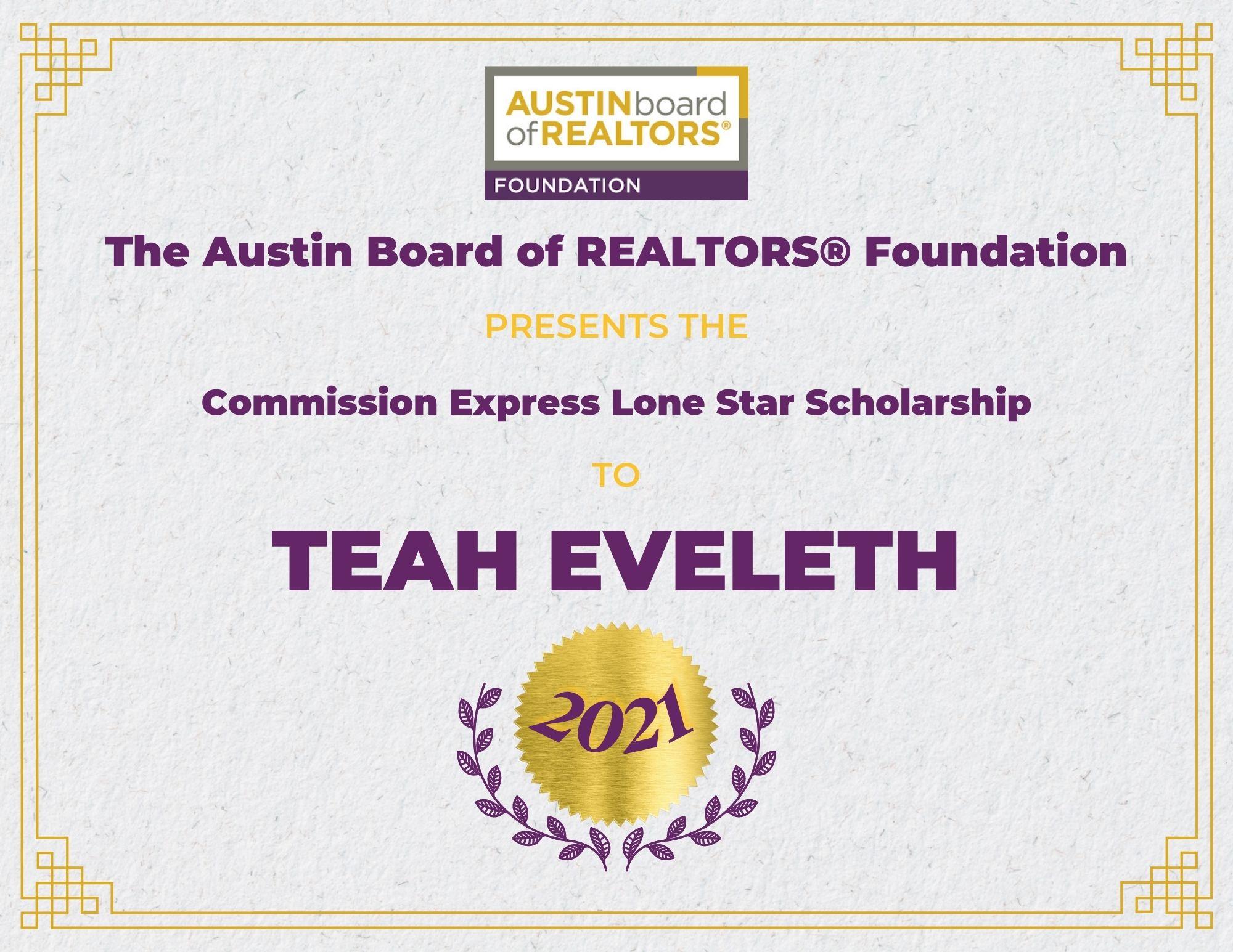 2021 Fou Scholarship Certificate Teaheveleth