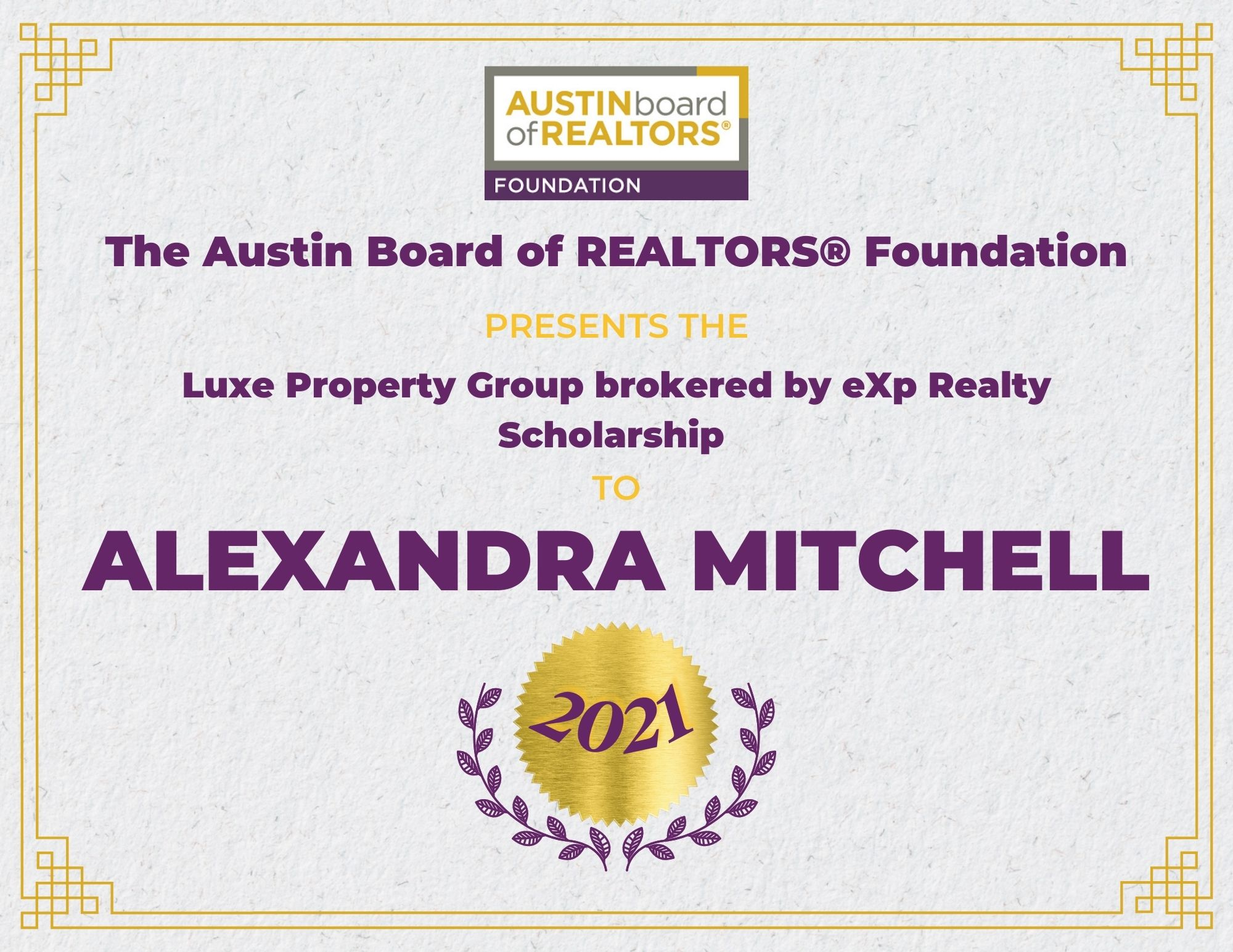 2021 Fou Scholarship Certificate Alexandramitchell