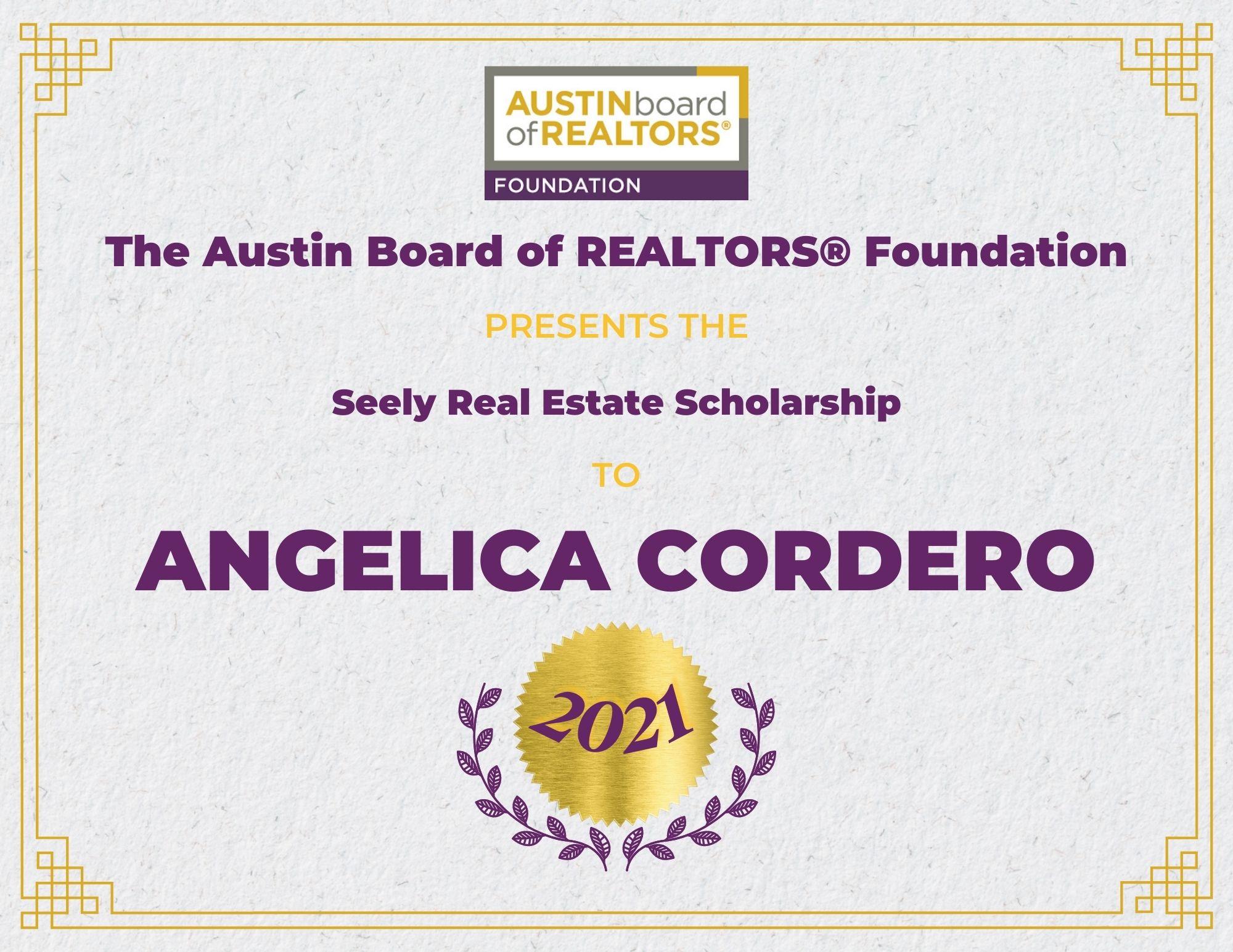 2021 Fou Scholarship Certificate Angelicacordero
