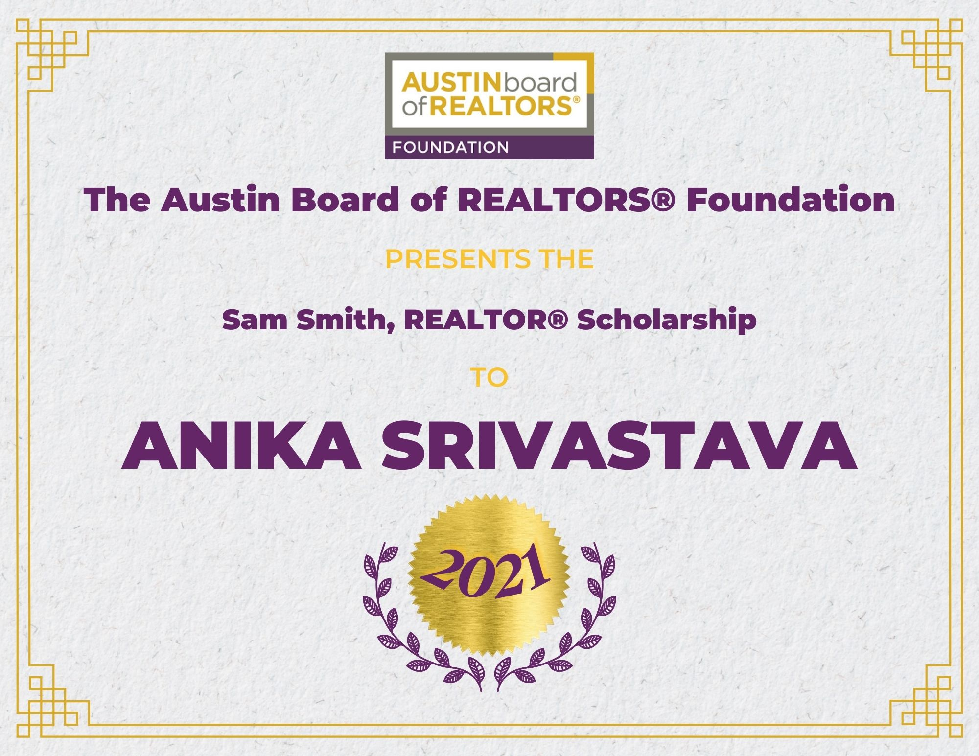 2021 Fou Scholarship Certificate_Anikasrivastava