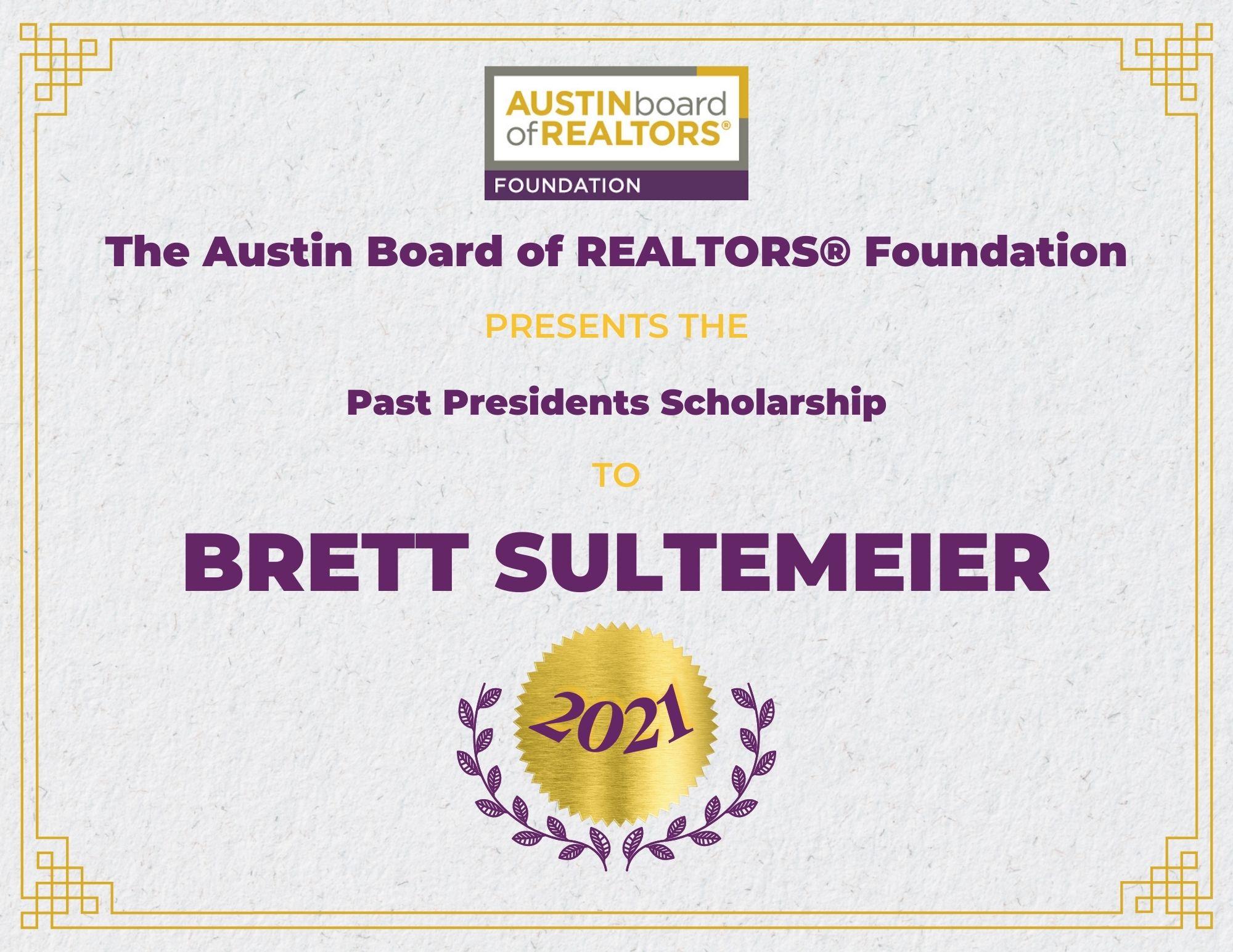 2021 Fou Scholarship Certificate Brettsultemeier