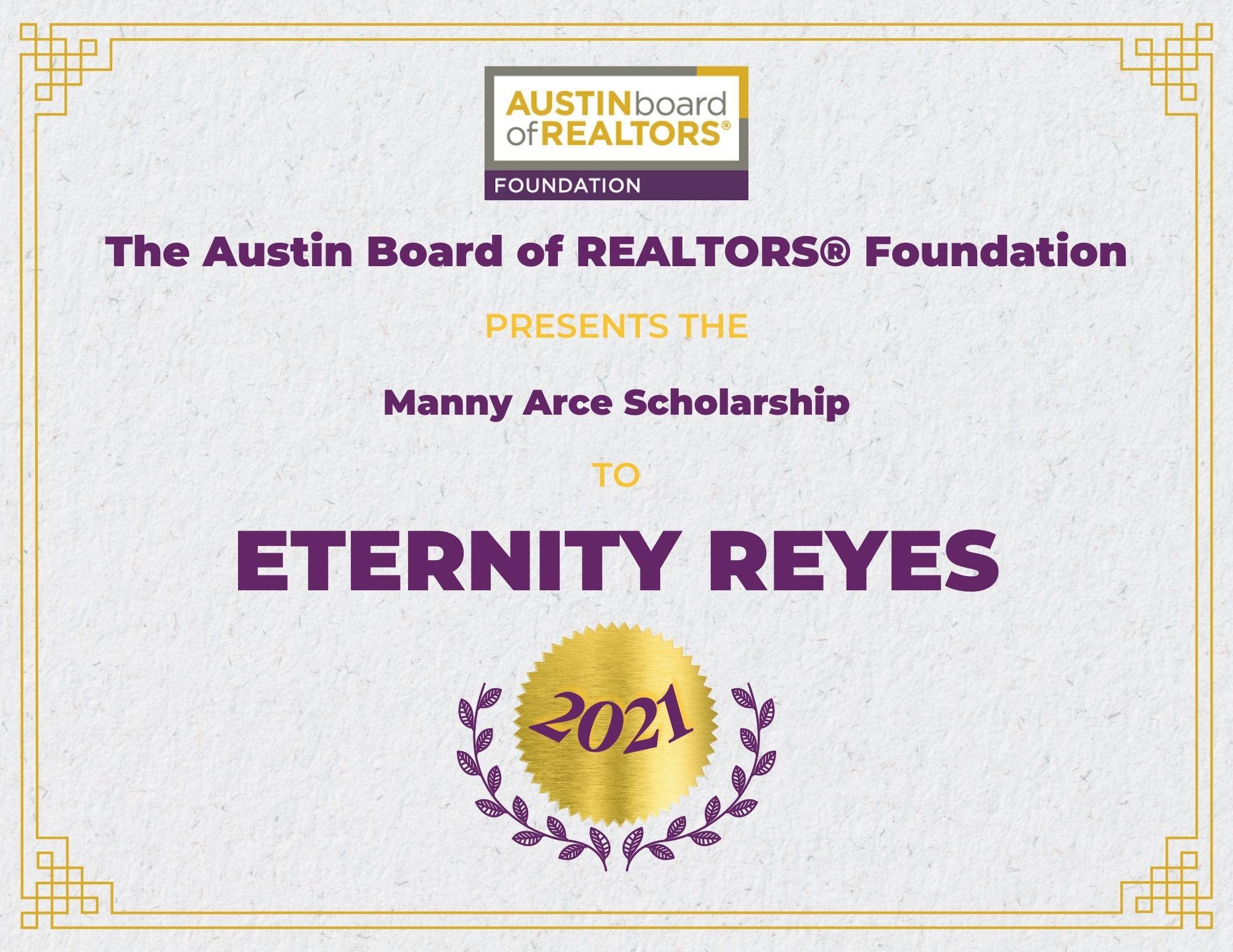 2021 Fou Scholarship Certificate Eternityreyes