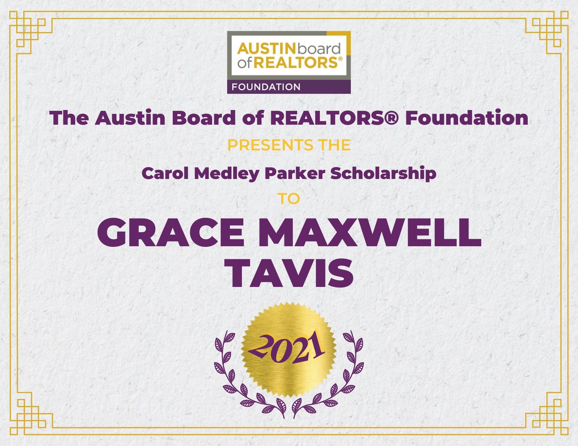 2021 Fou Scholarship Certificate_Gracemaxwelltavis