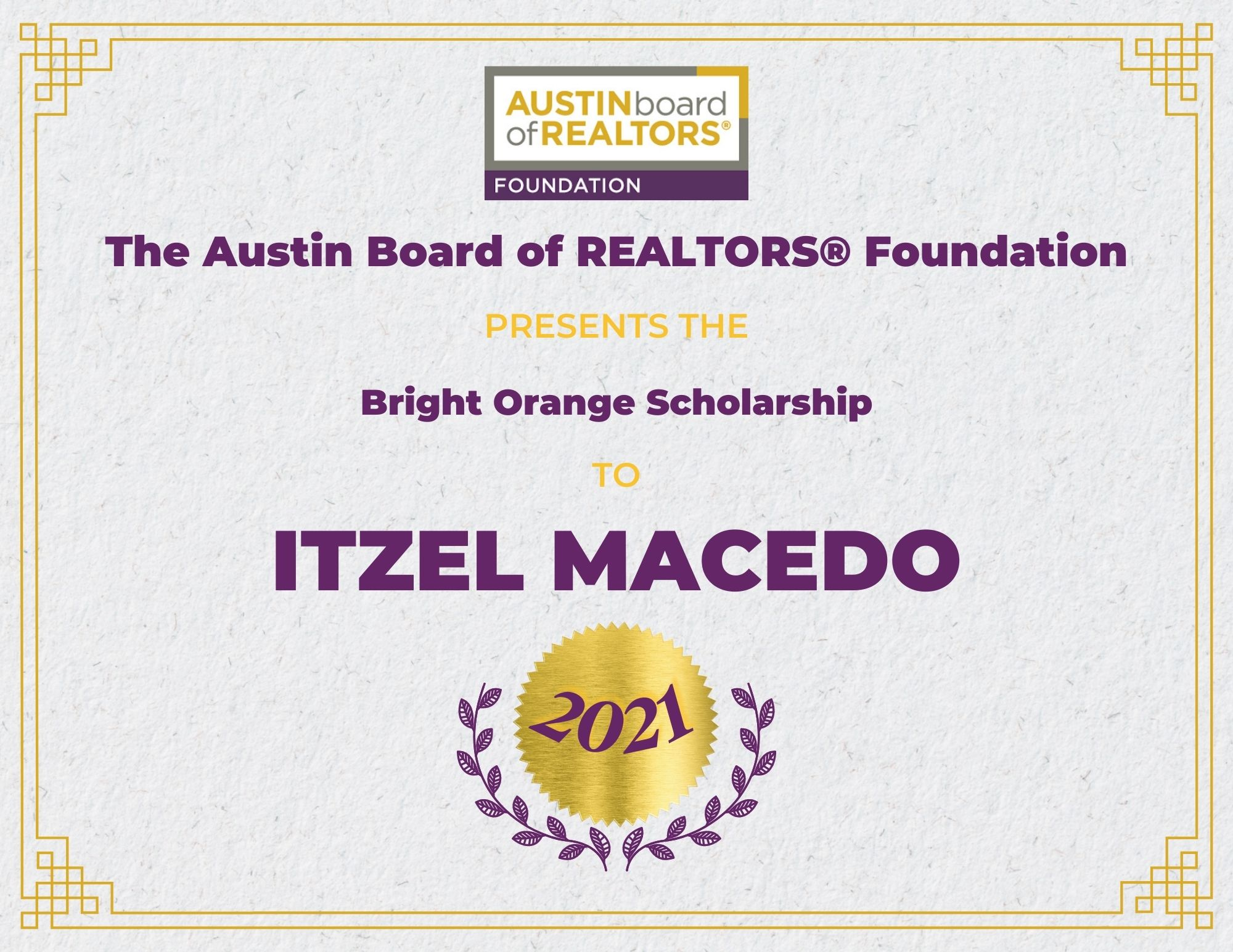 2021 Fou Scholarship Certificate Itzelmacedo