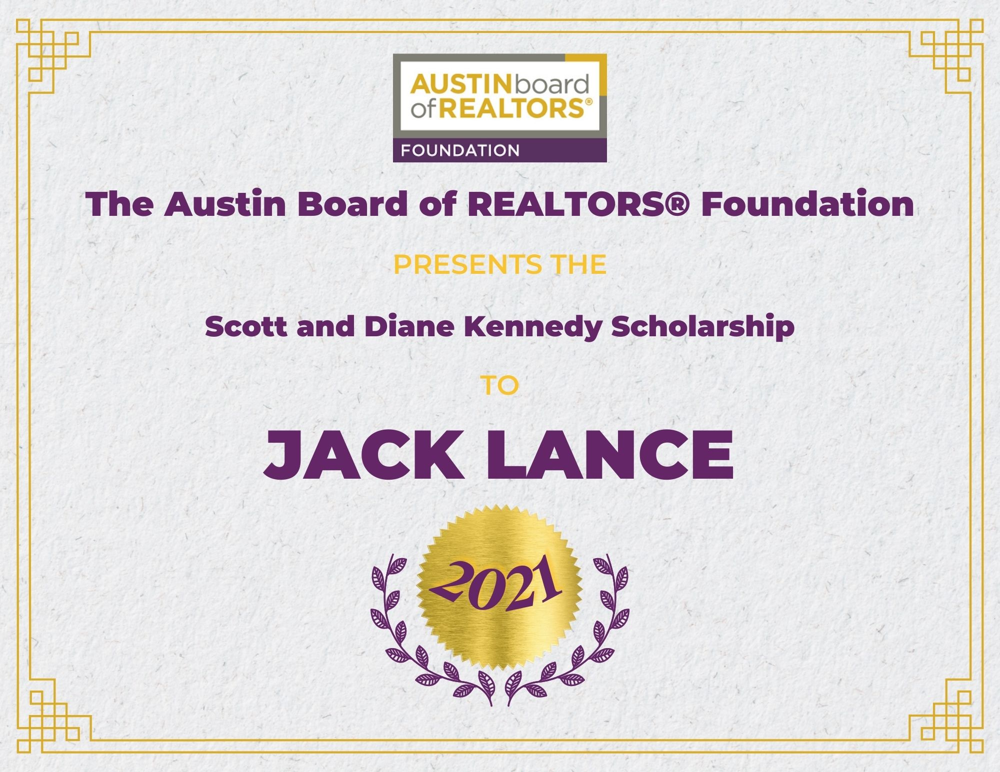 2021 Fou Scholarship Certificate Jacklance