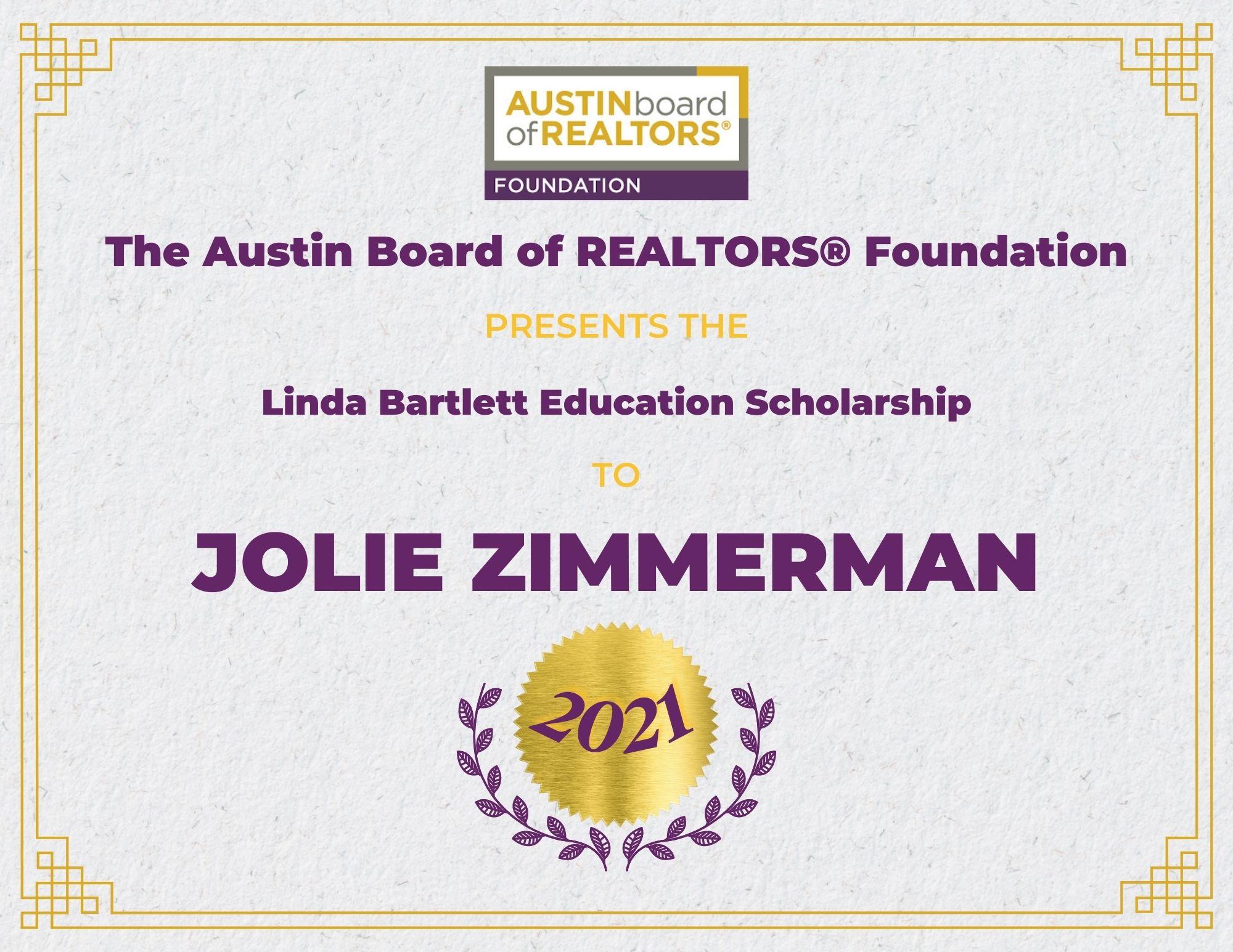 2021 Fou Scholarship Certificate Joliezimmerman
