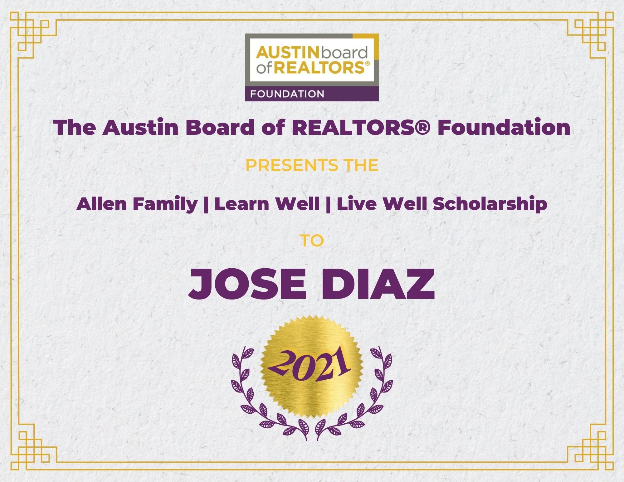 2021 Fou Scholarship Certificate Josediaz