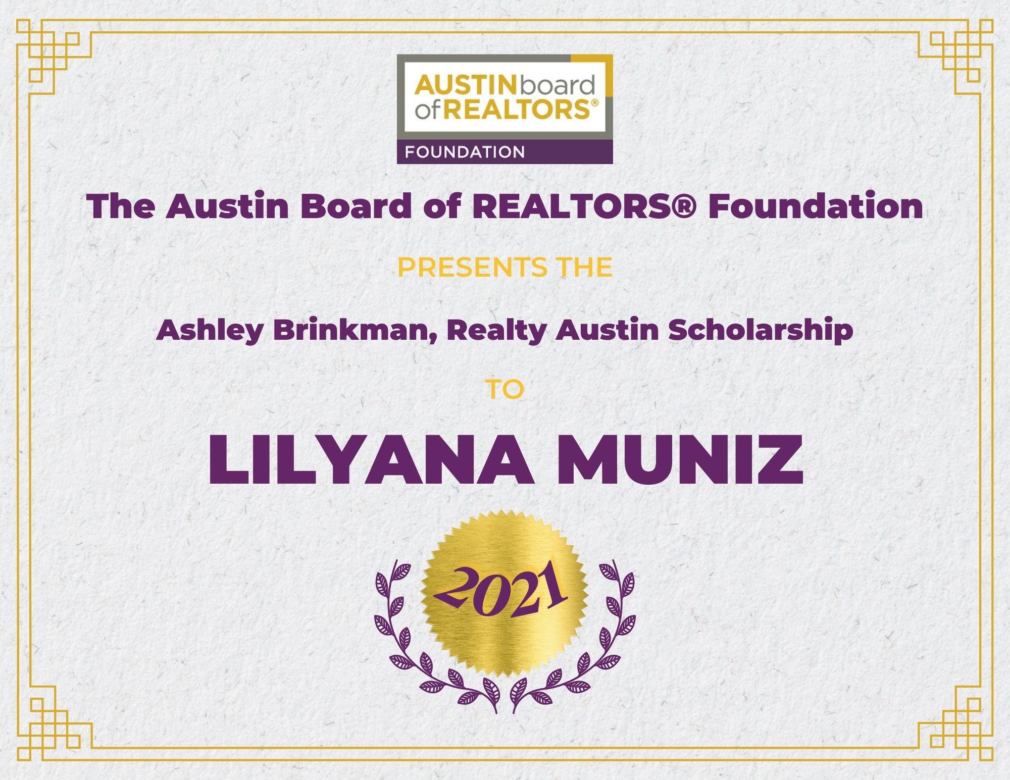 2021 Fou Scholarship Certificate Lilyanamuniz