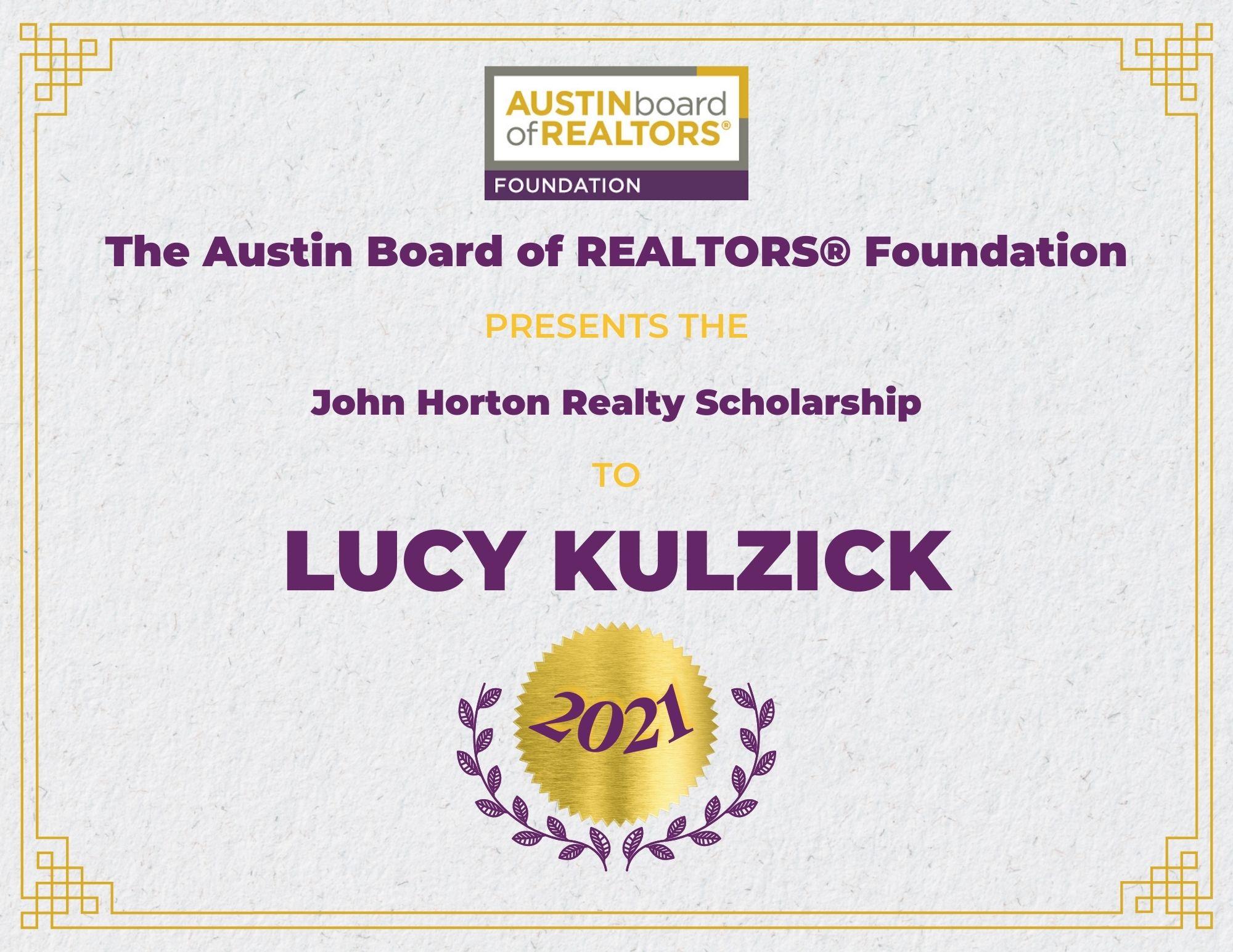 2021 Fou Scholarship Certificate Lucykulzick