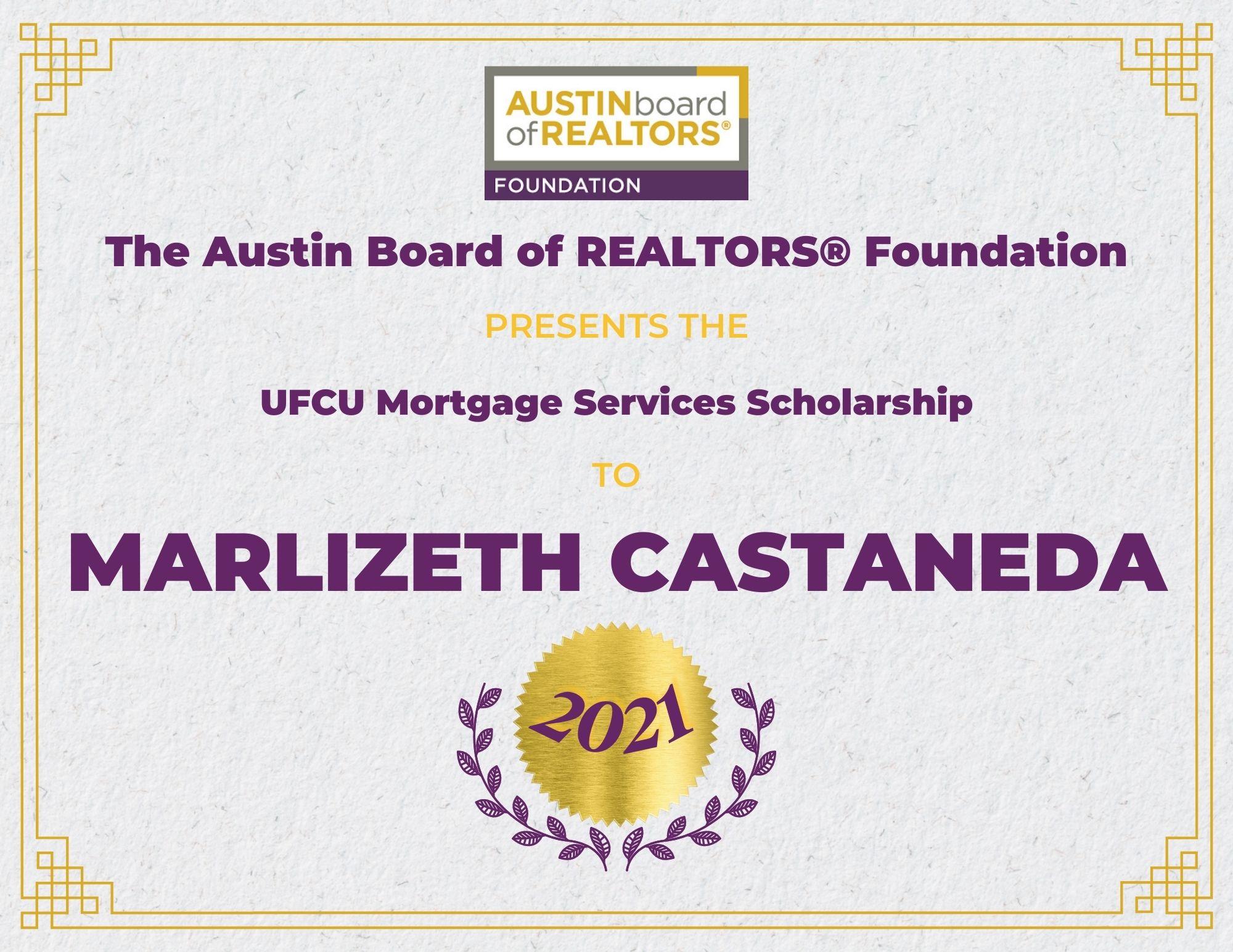2021 Fou Scholarship Certificate Marlizethcastaneda
