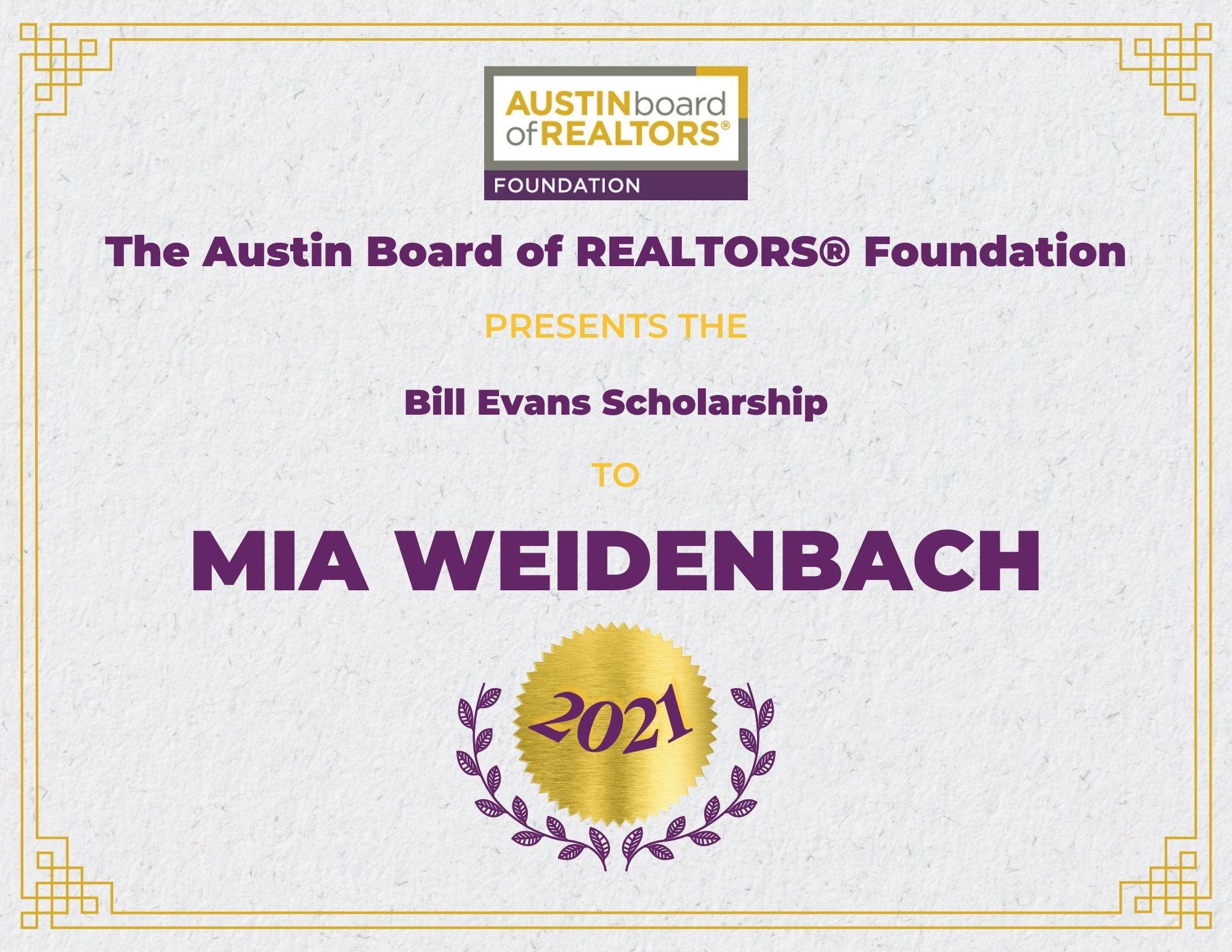 2021 Fou Scholarship Certificate Miaweidenbach