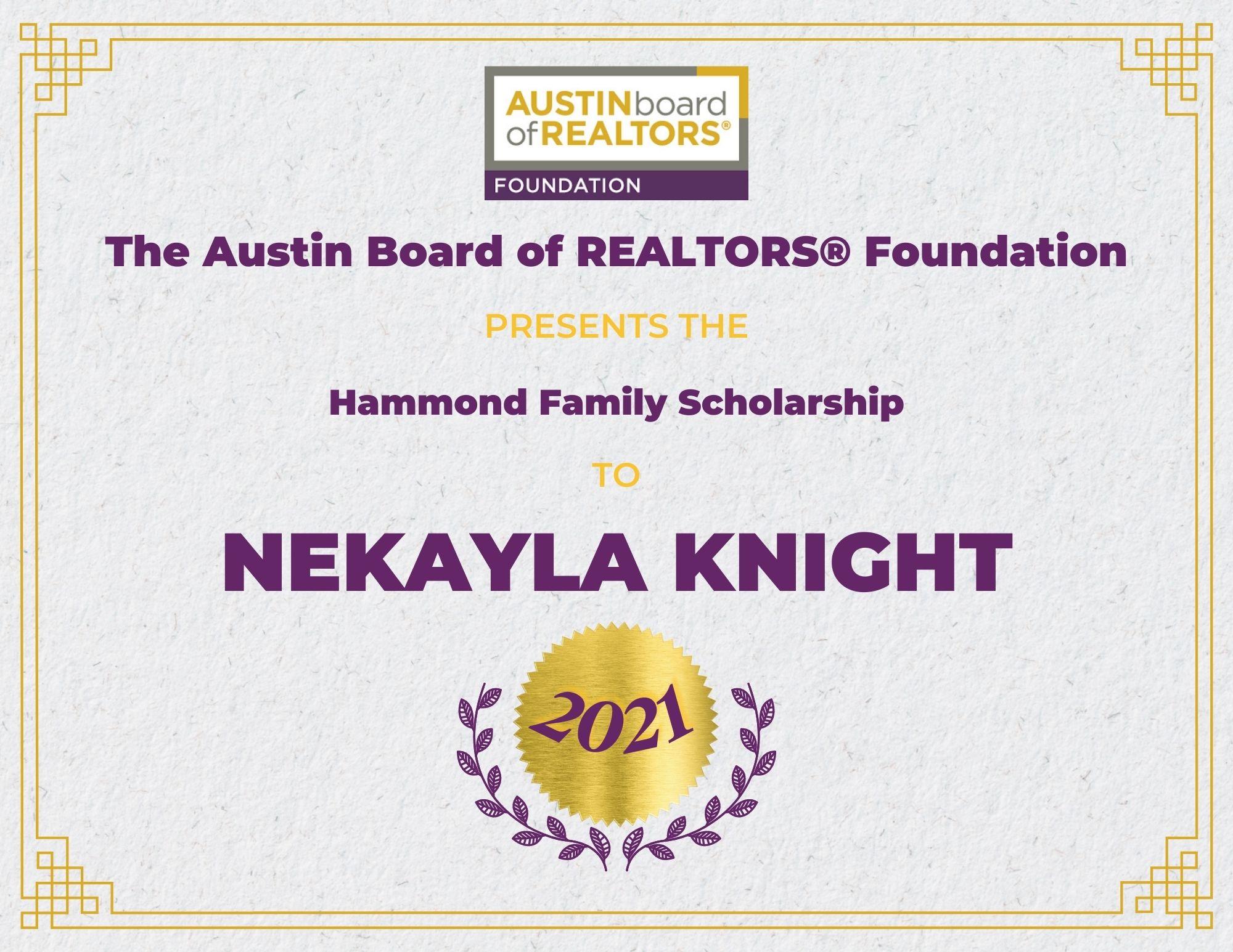 2021 Fou Scholarship Certificate Nekaylaknight