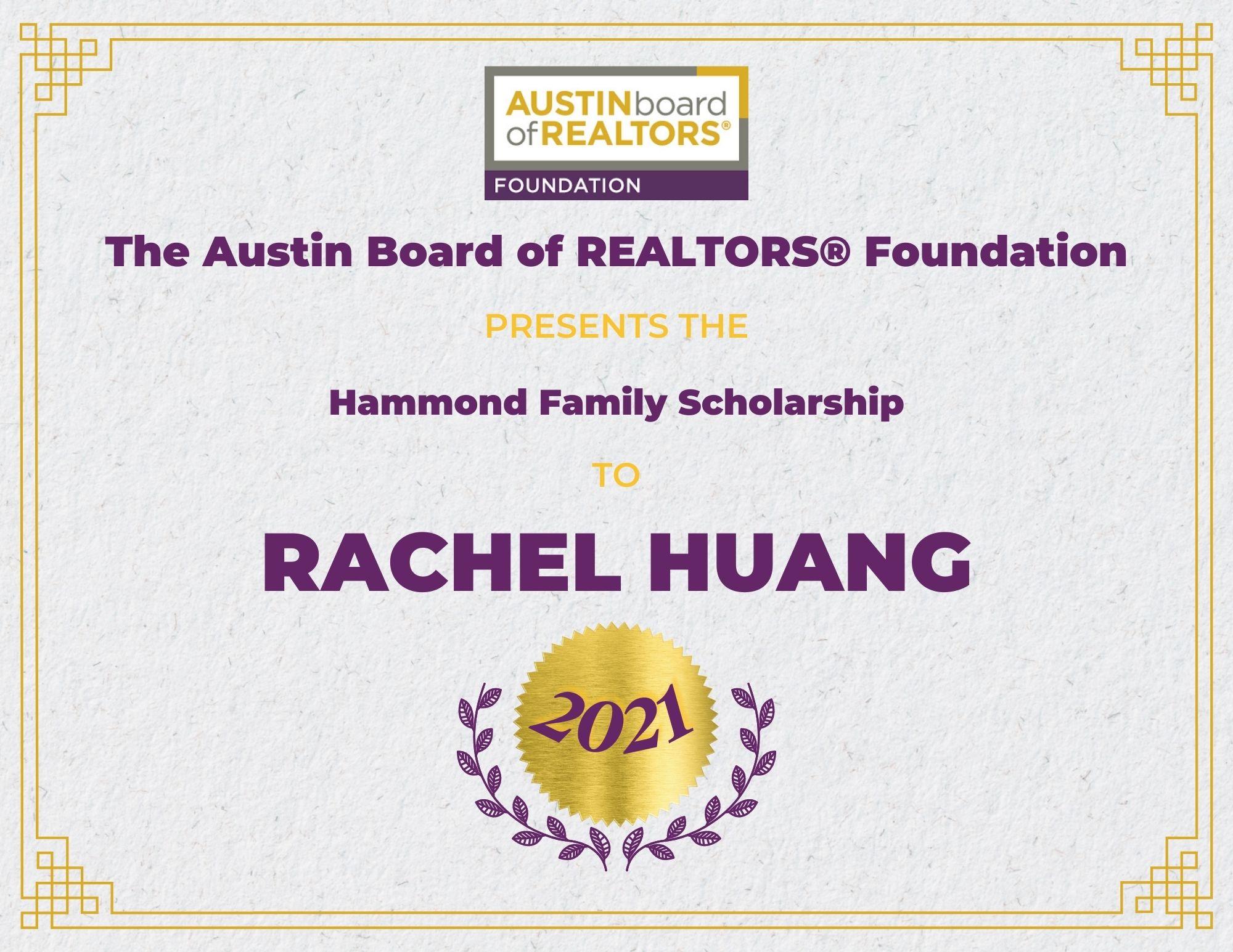 2021 Fou Scholarship Certificate Rachelhuang