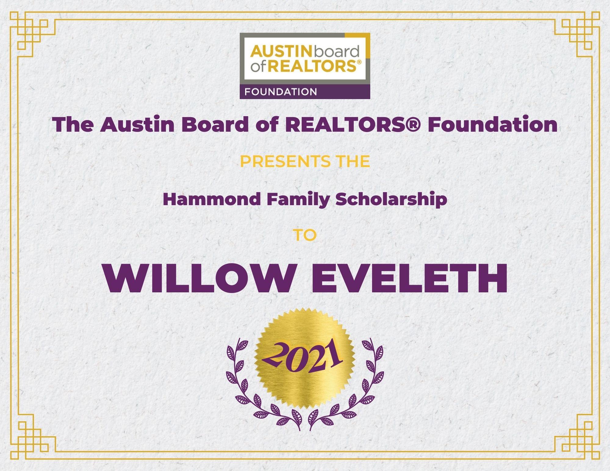 2021 Fou Scholarship Certificate_Willoweveleth