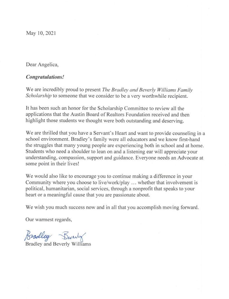 Angelica Congratulations Letter
