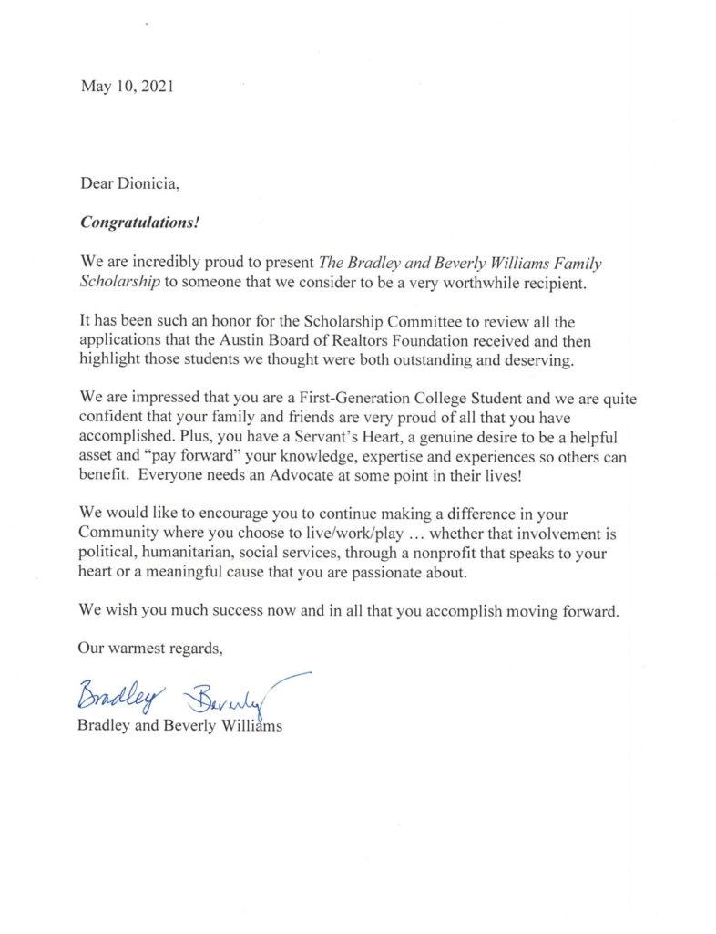 Dionicia Congratulaitons Letter